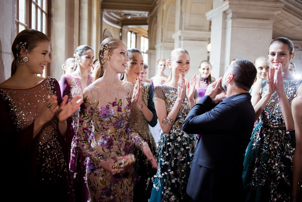Georges Hobeika + models (photo from Getty Images)