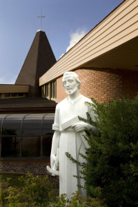 St. Joseph statue in front of church