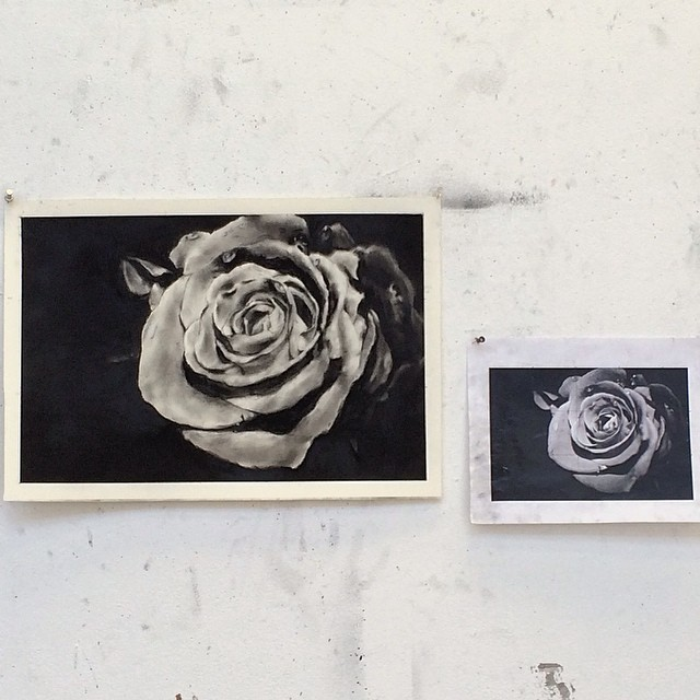 Photorealism  - Artist Work on Left - charcoal - 2015 - stanford