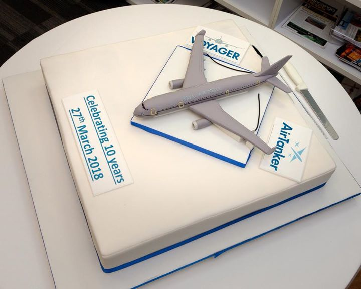 AirTanker - Feeding 200, this cake was two flavours side by side to cater for all, along with the replica Voyager aircraft made from edible sugar paste.
