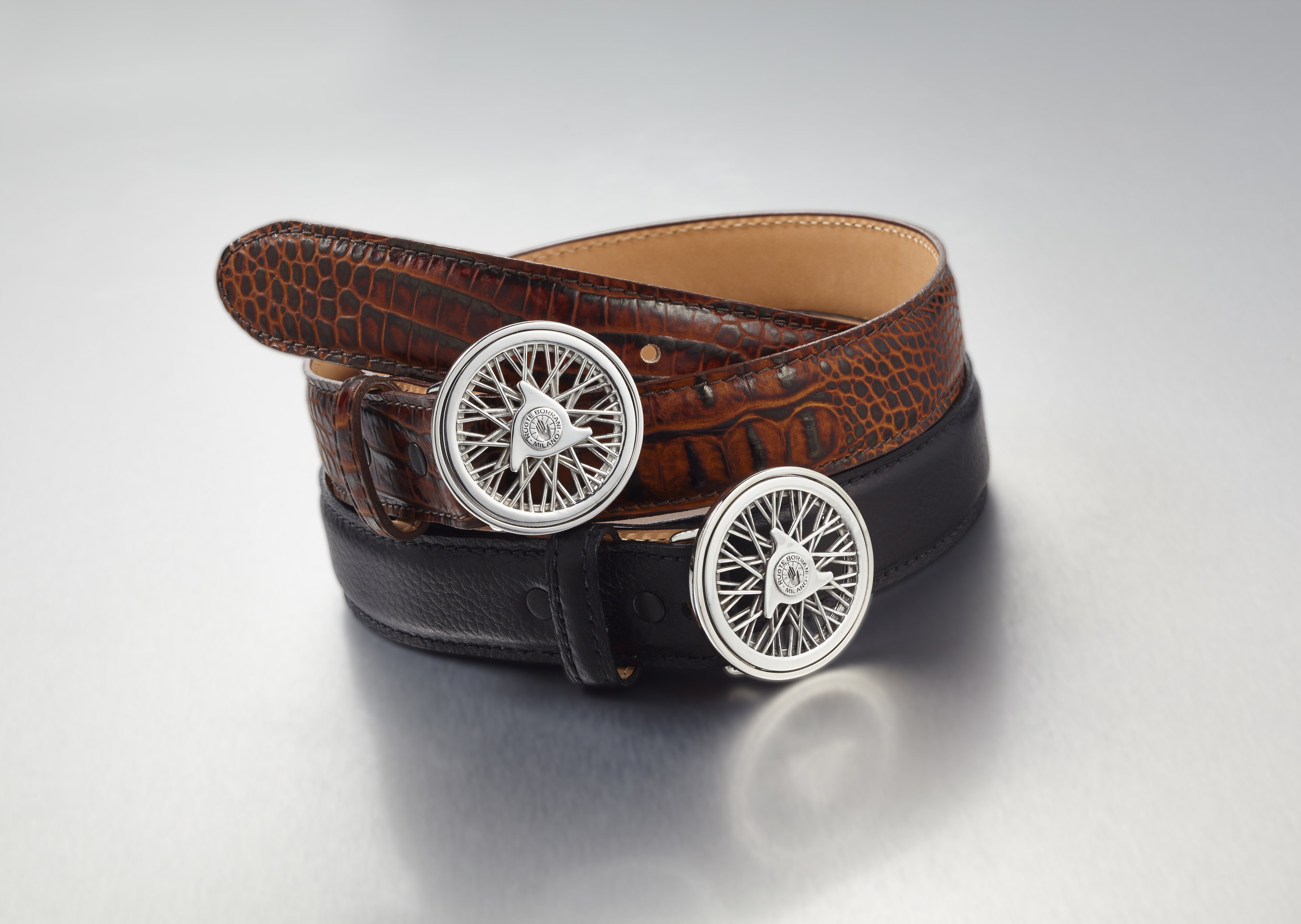 Leather belts with Borrani aluminum buckle