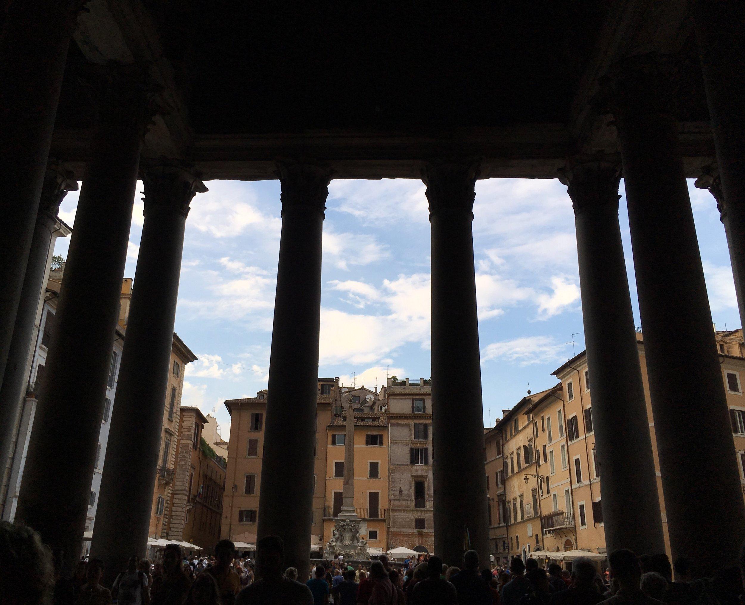 Exiting the Pantheon.