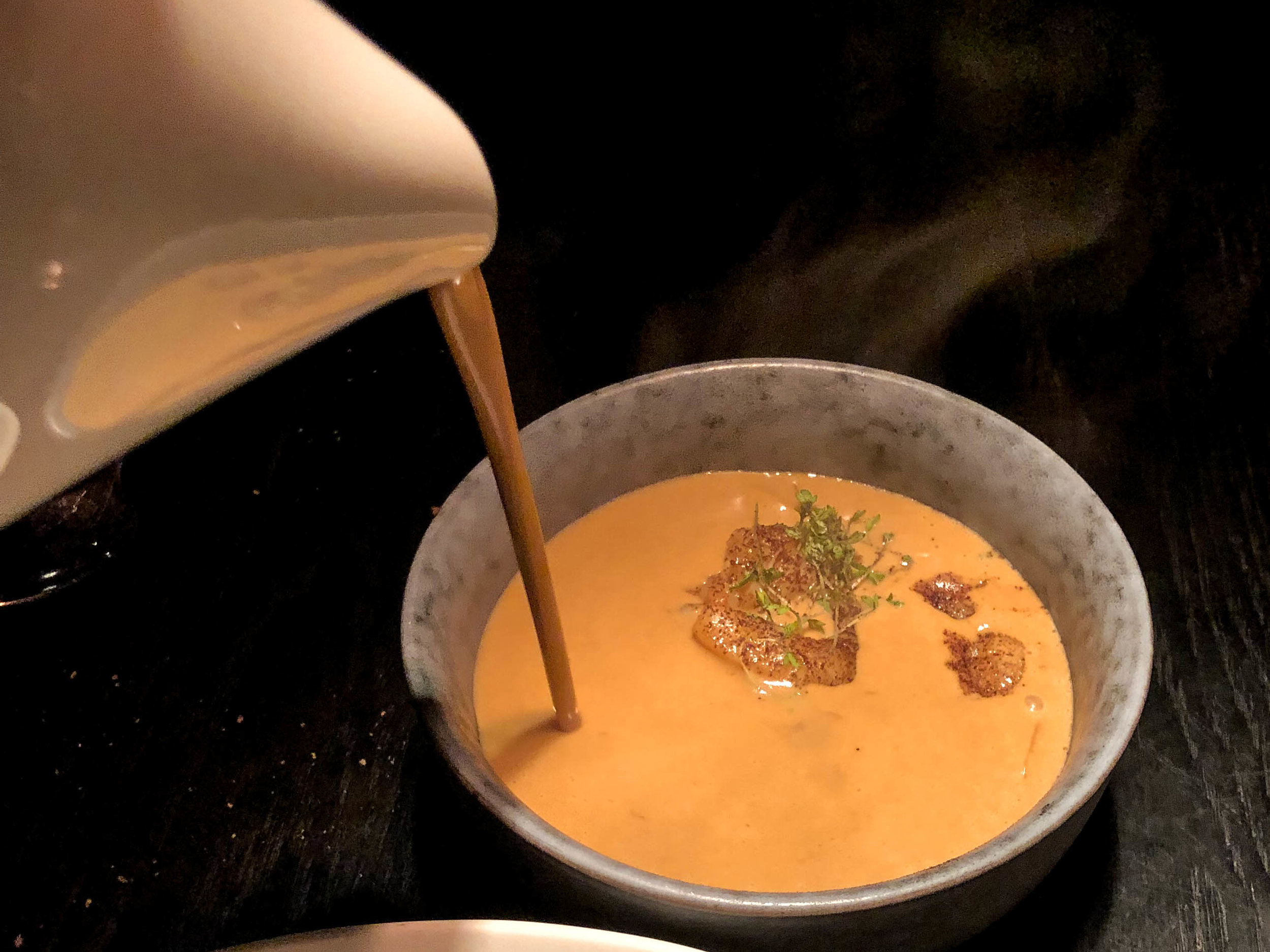 FIJI - COCONUT ~ boiled LOBSTER SOUP with TIGER PRAWN & SCALLOPS, coconut jelly, roasted coconut & Icelandic seaweeds