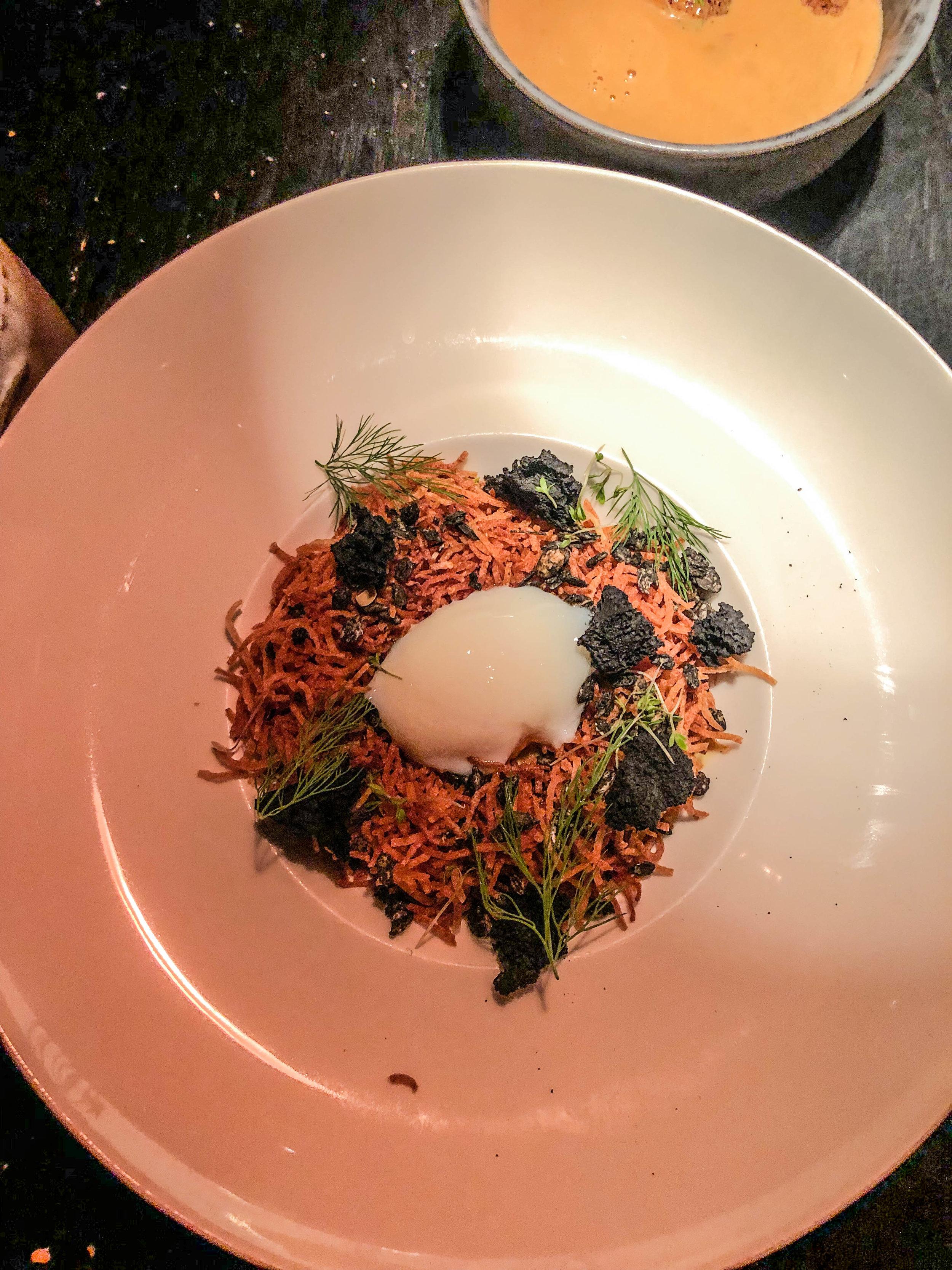 FRANCE - TRUFFLES ~ 65°C egg in a crispy POTATO NEST with truffle purée & green ASPARAGUS, fried wild mushrooms & wild herb GRANOLA