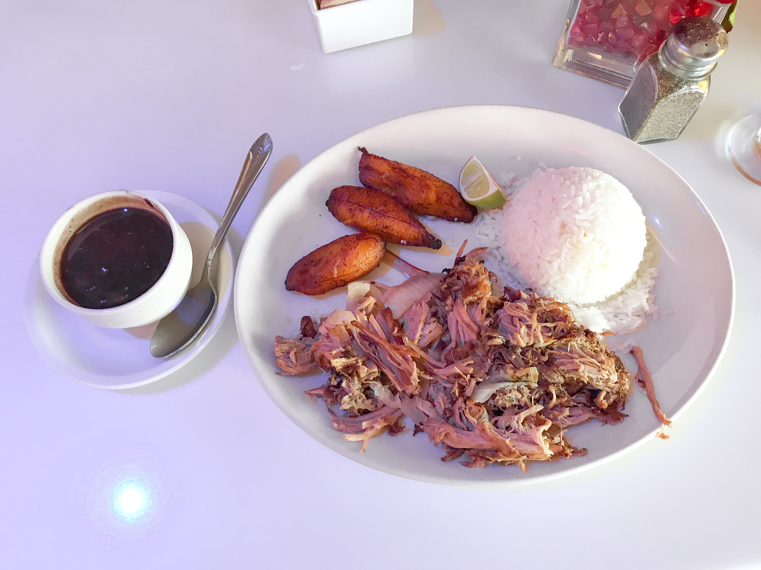 Cuban Pork with black bean, rice and sweet plantains.