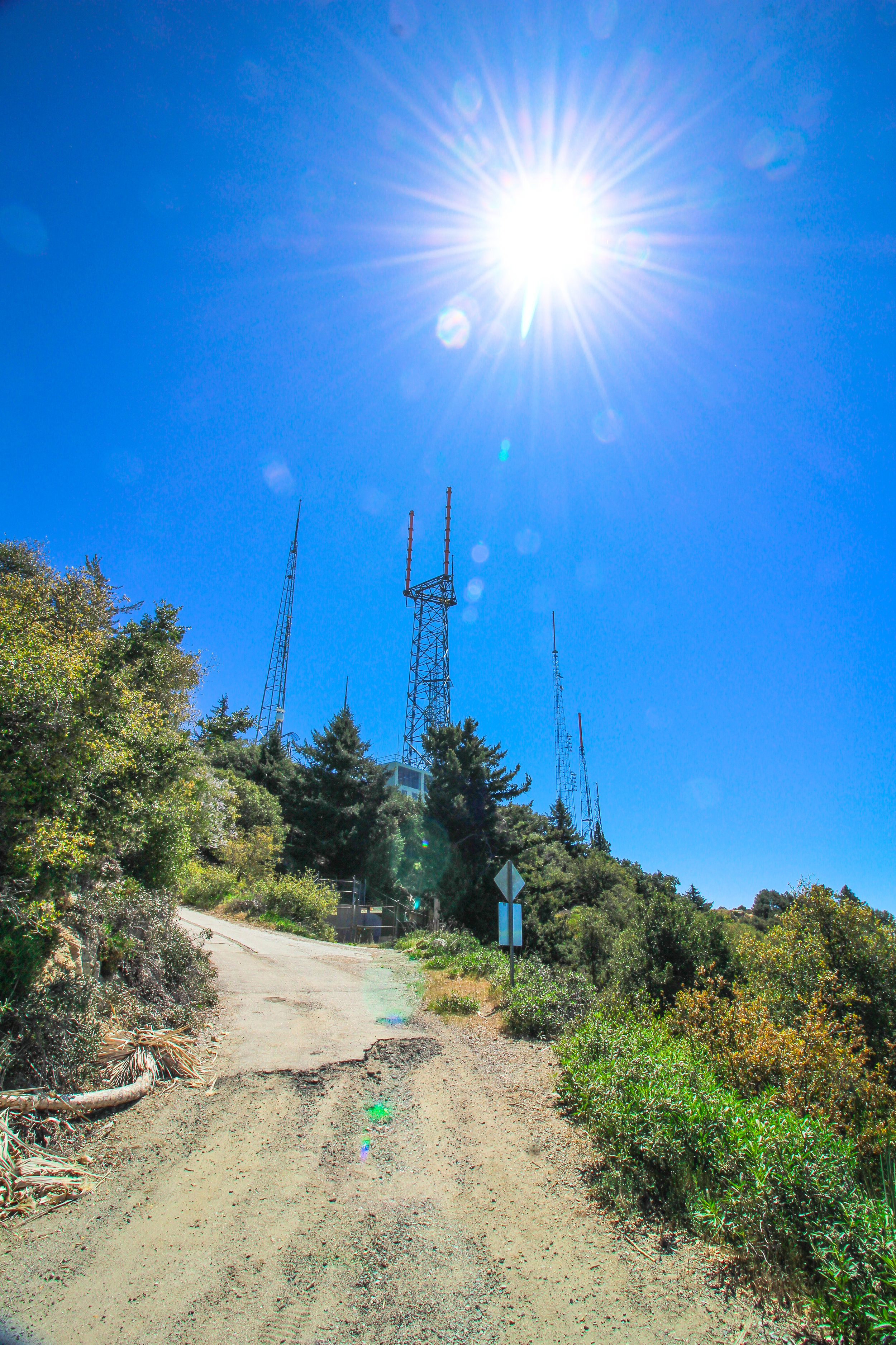 Looking up at the Antennas on Mt. Wilson.