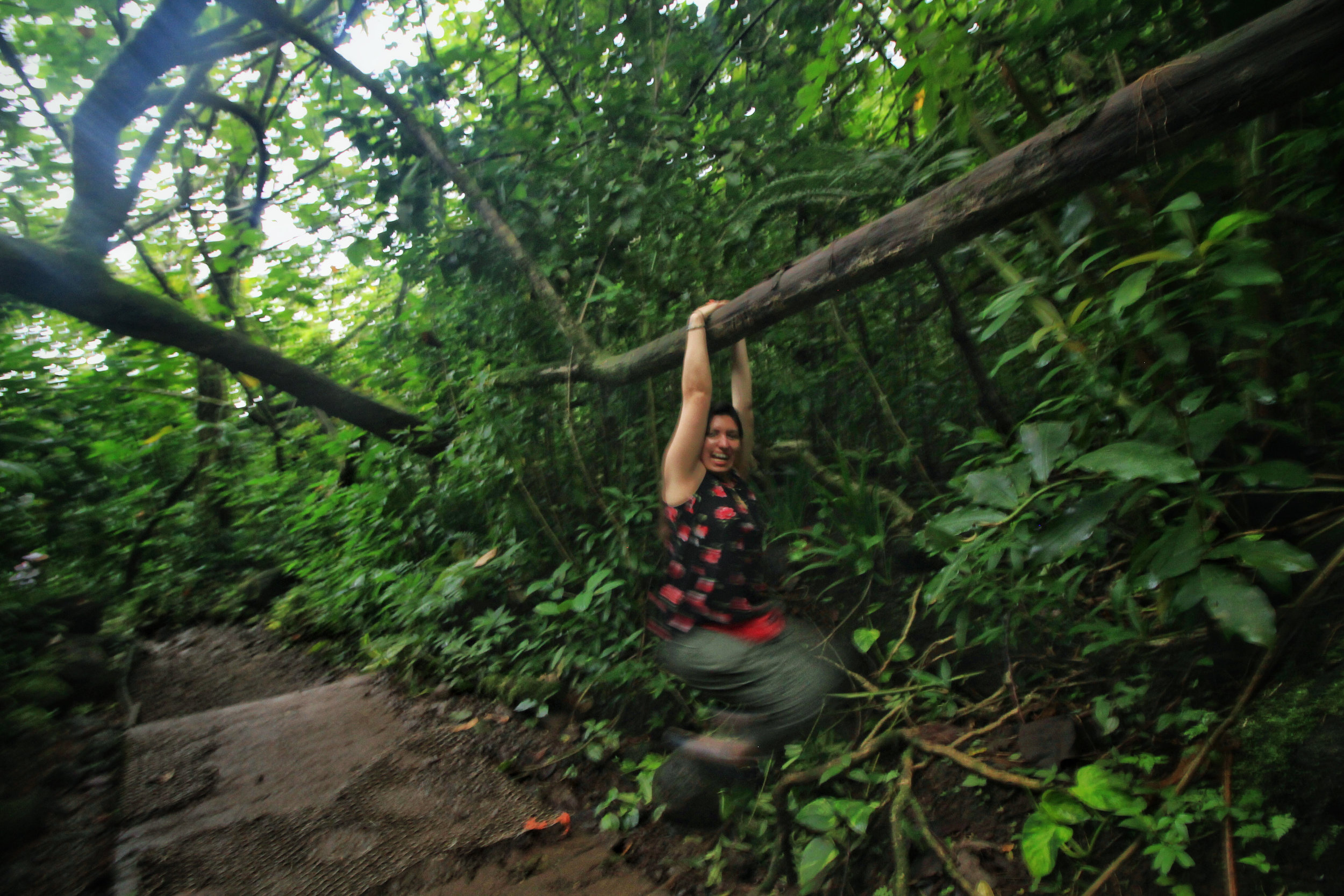 The sister swinging at Manoa Falls