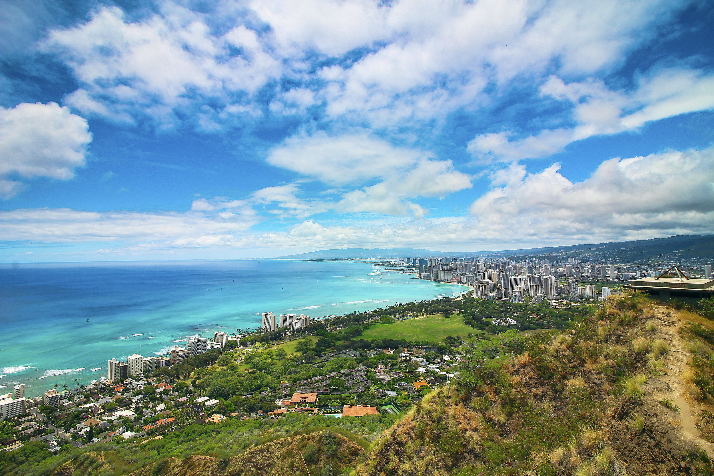Waikiki as seen from top of Diamond Head Crater