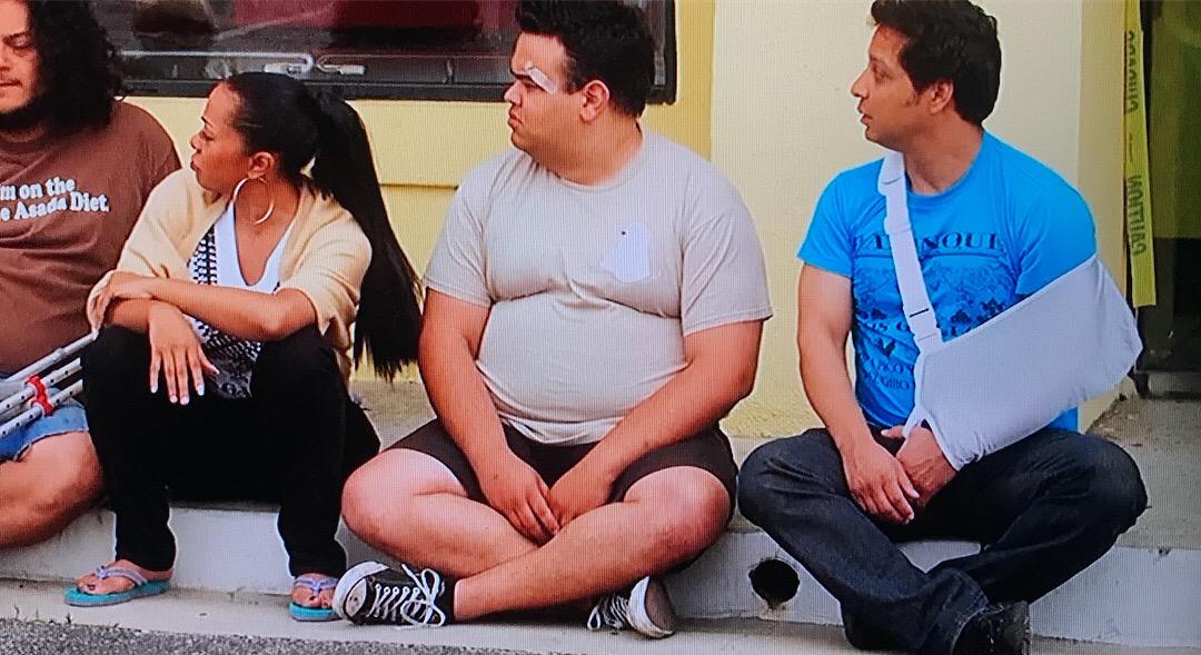 Closeup of Dos Gallos Tees in Taco Shop Movie