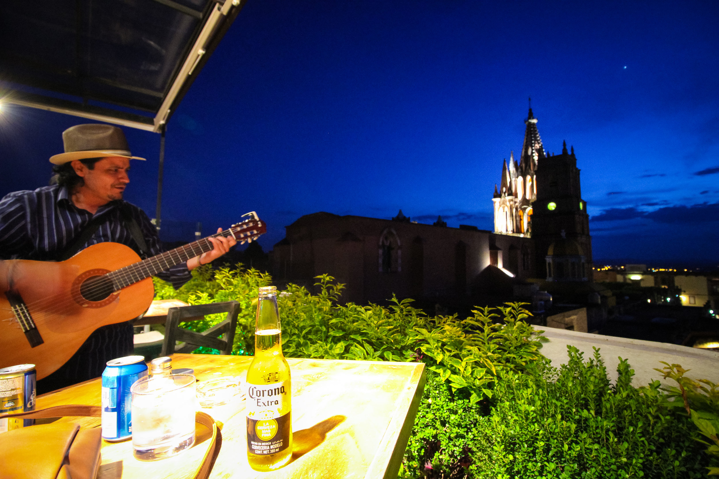Listening to live music on the rooftop of a restaurant in San Miguel de Allende