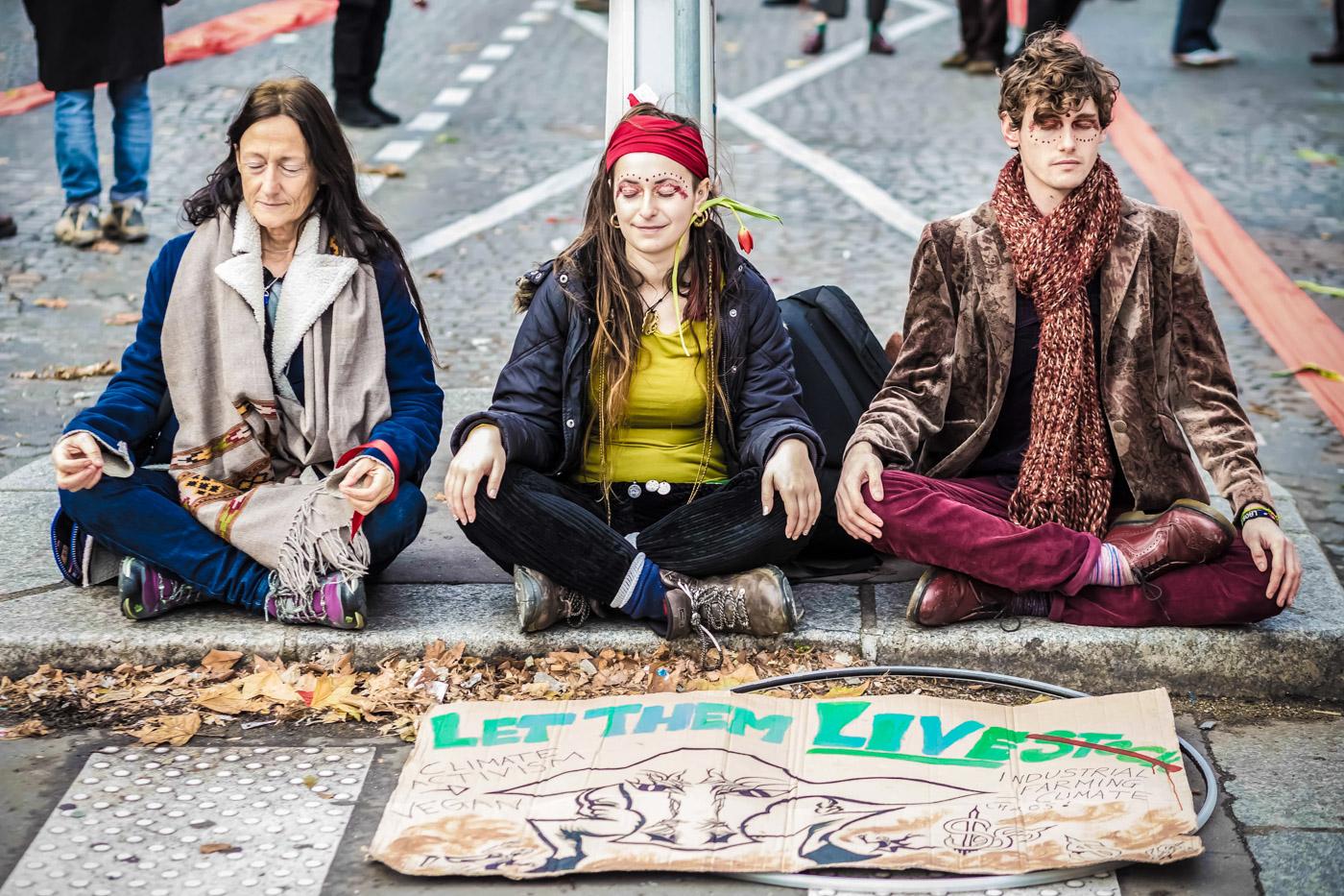 Peaceful protestors at Cop 21 Place de la Republique
