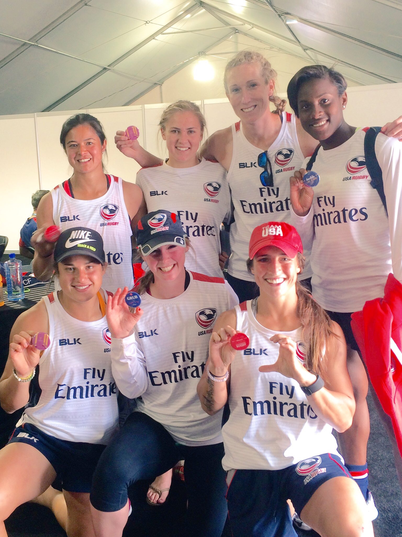 Our USA Women's 7s Eagles at Vegas 7s (Irene Gardner, Richelle Stephens, Carmen Farmer, Naya Tapper, Nicole Heavirland, Meya Bizer, Ryan Carlyle)