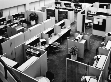 I have long had this fascination with 70's/80's era Brutalist office parks, as well as the cubicle office set up inside them even though being trapped in a cubicle is my worst nightmare.