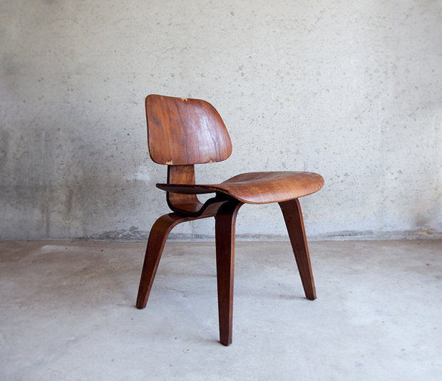 Quite possibly one of my favorite designs of all time the Eames Molded Plywood chair. You can pick up a brand new one but there is nothing like a vintage one that has small little markings from constant wear and tear.