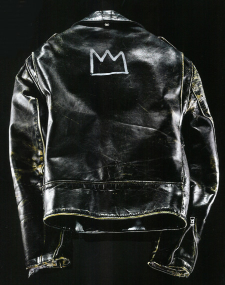 This is Glenn O'Brien's Schott leather perfecto jacket that Jean Michele Basquiat painted his signature crown on the back.