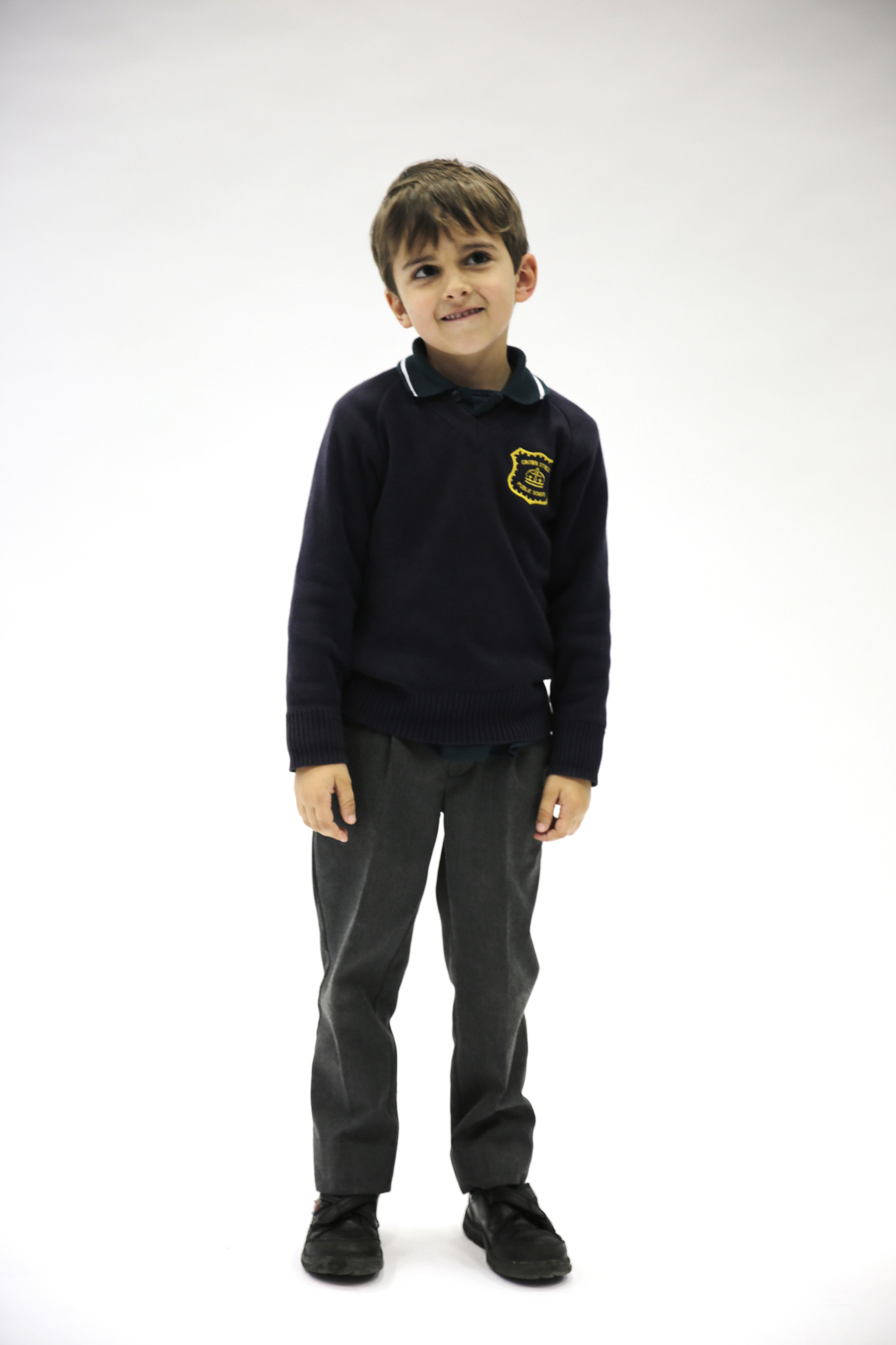Long sleeve polo, jumper, grey trousers