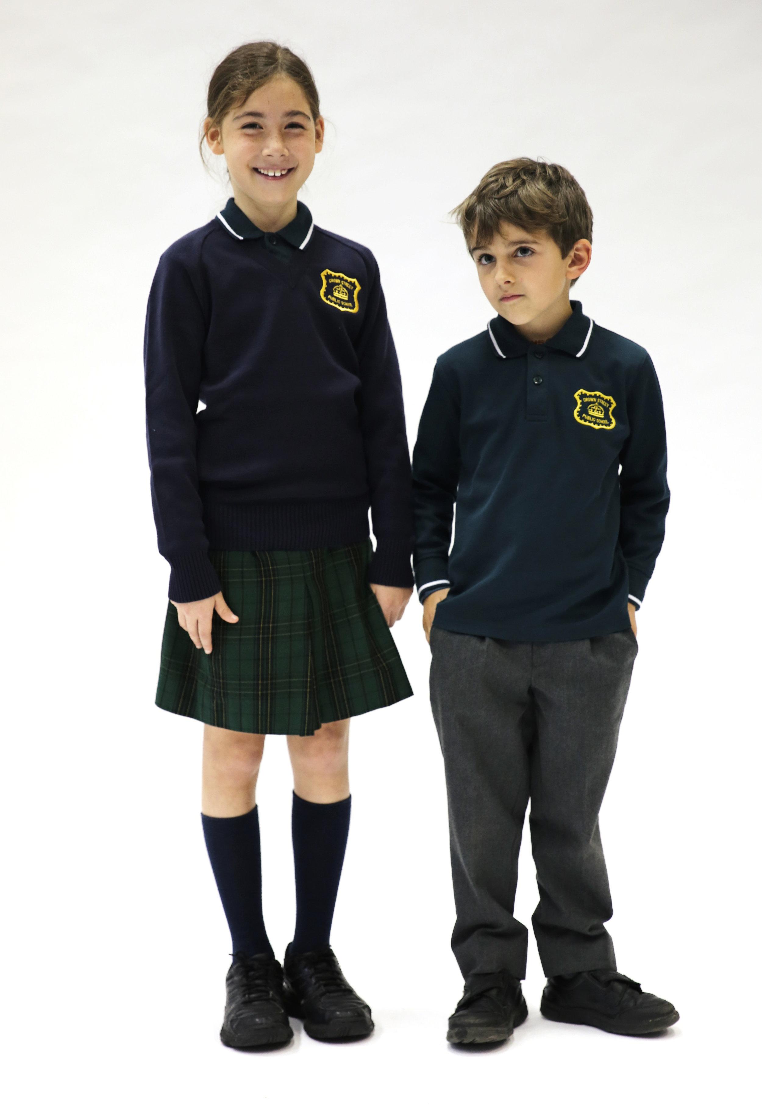Long sleeve polo, jumper, trousers/skirt