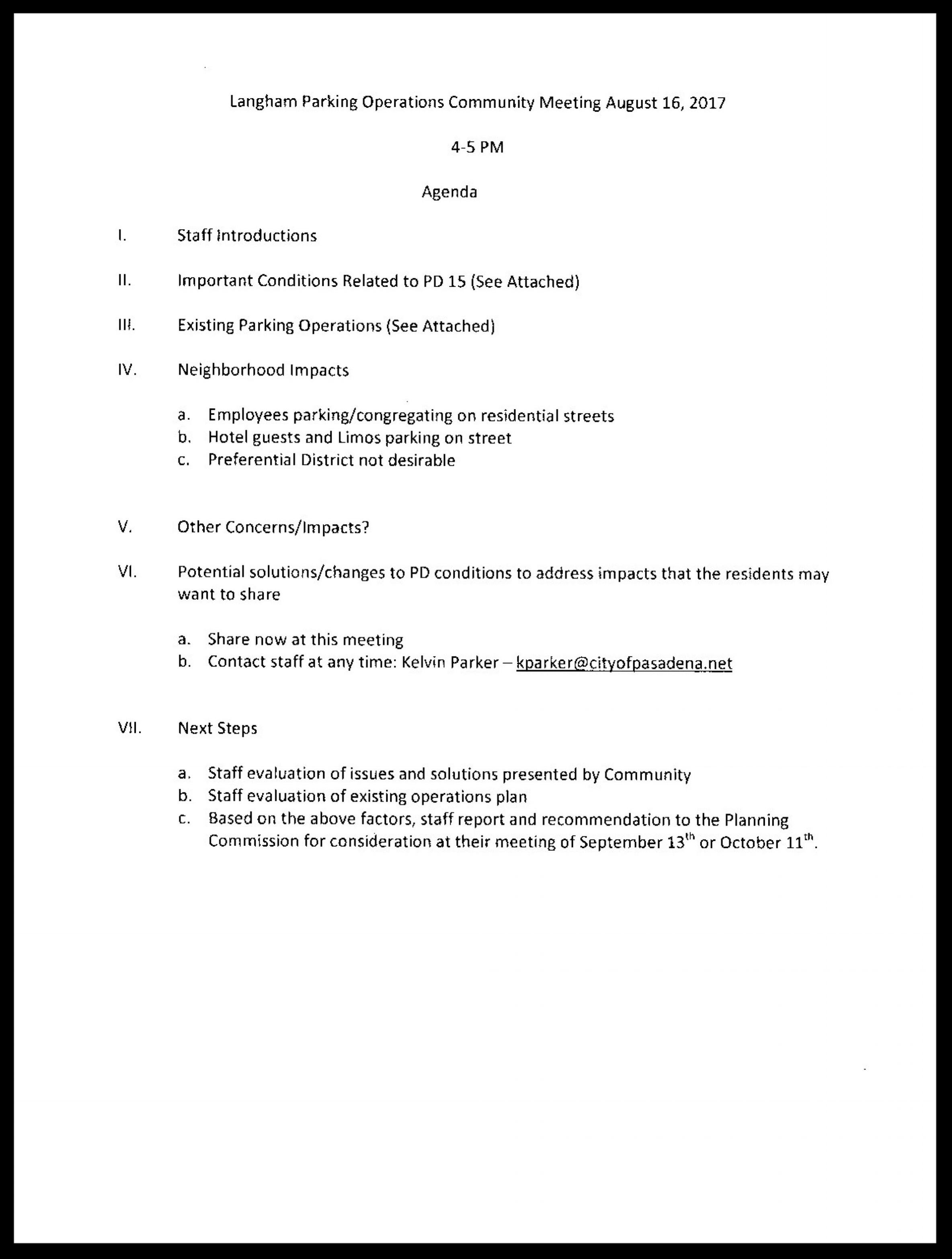 - Agenda for Langham Parking Operations Meeting - August 16, 2017