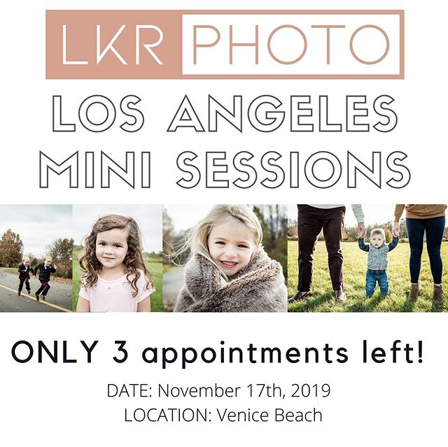 Los Angeles: Do you want professional photos for your upcoming Holiday cards? Don't miss this opportunity for LKR PHOTO mini sessions! Only 3 available spots left! ($225 for 20 minutes of unlimited shooting - all images will be touched up & colored.) Book your appointments for LKR Photo: Holiday Card Mini Sessions - November 17, 2019 - Link is in the bio!