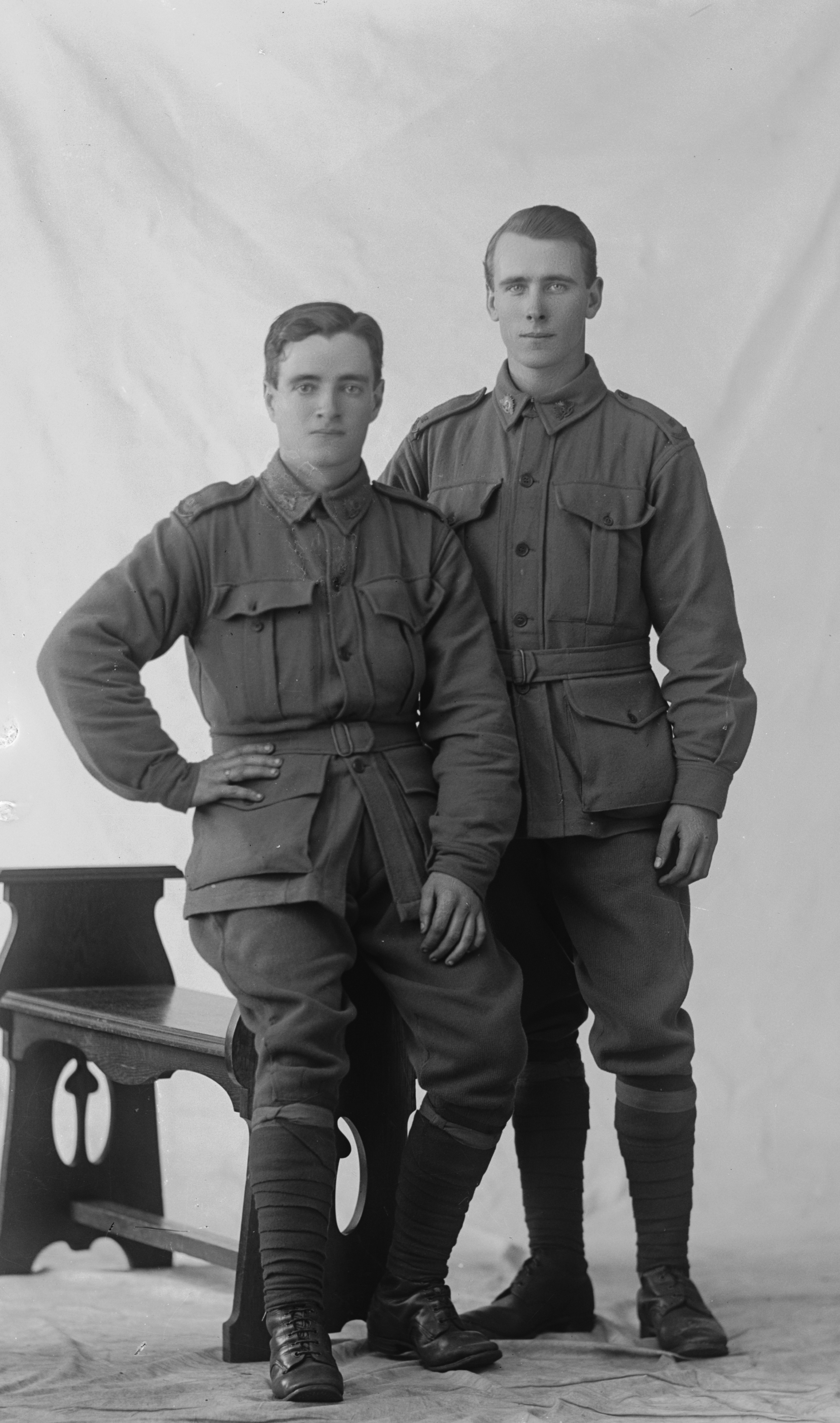 Photographed at the Dease Studio, 117 Barrack Street Perth WA Image courtesy of the State Library of Western Australia: 108181PD. Photographed with Private Henry Watkins Roberts, standing.