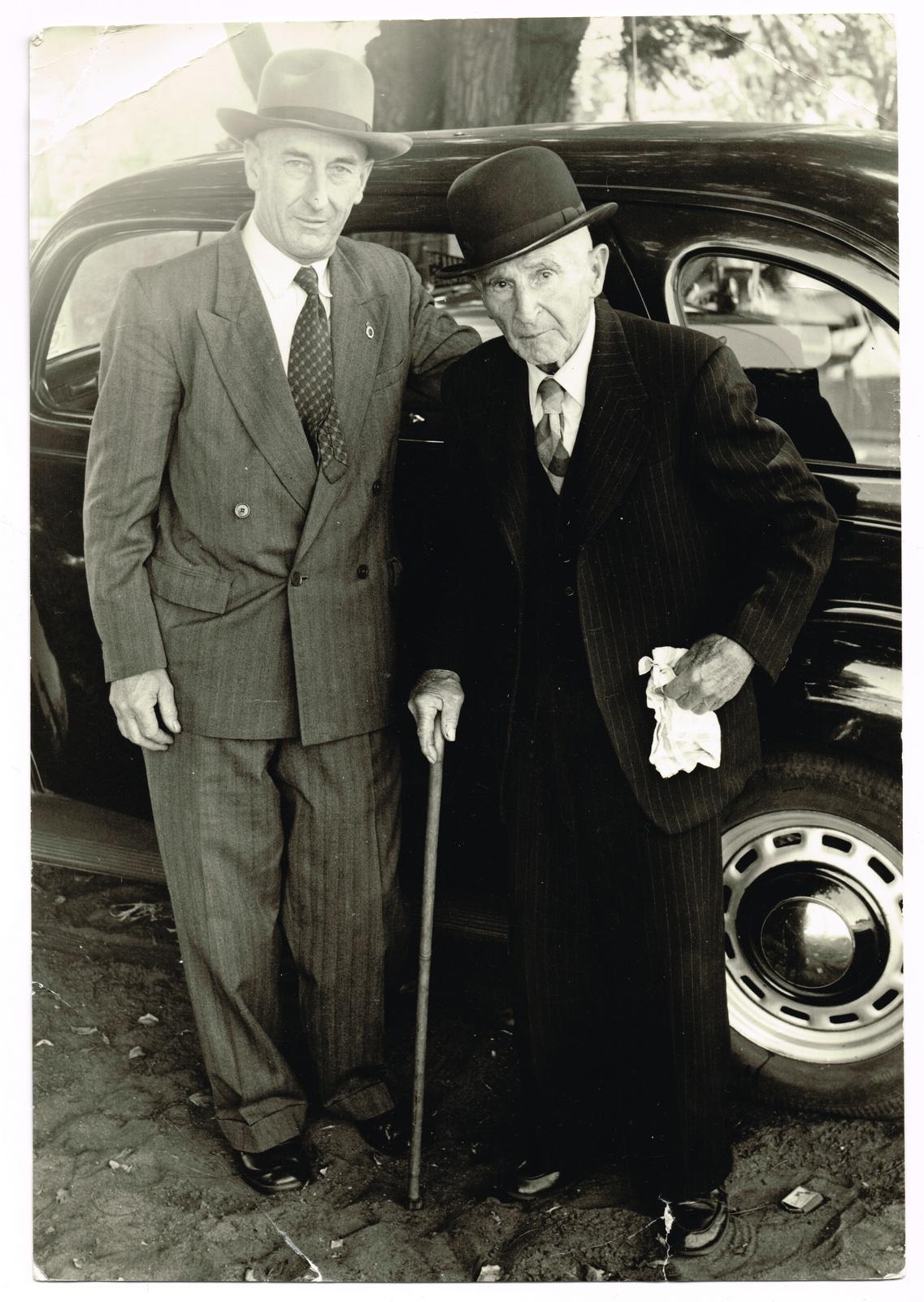 An elderly Denis Dease with his son Desmond