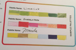 Sample of color palettes that include pantones
