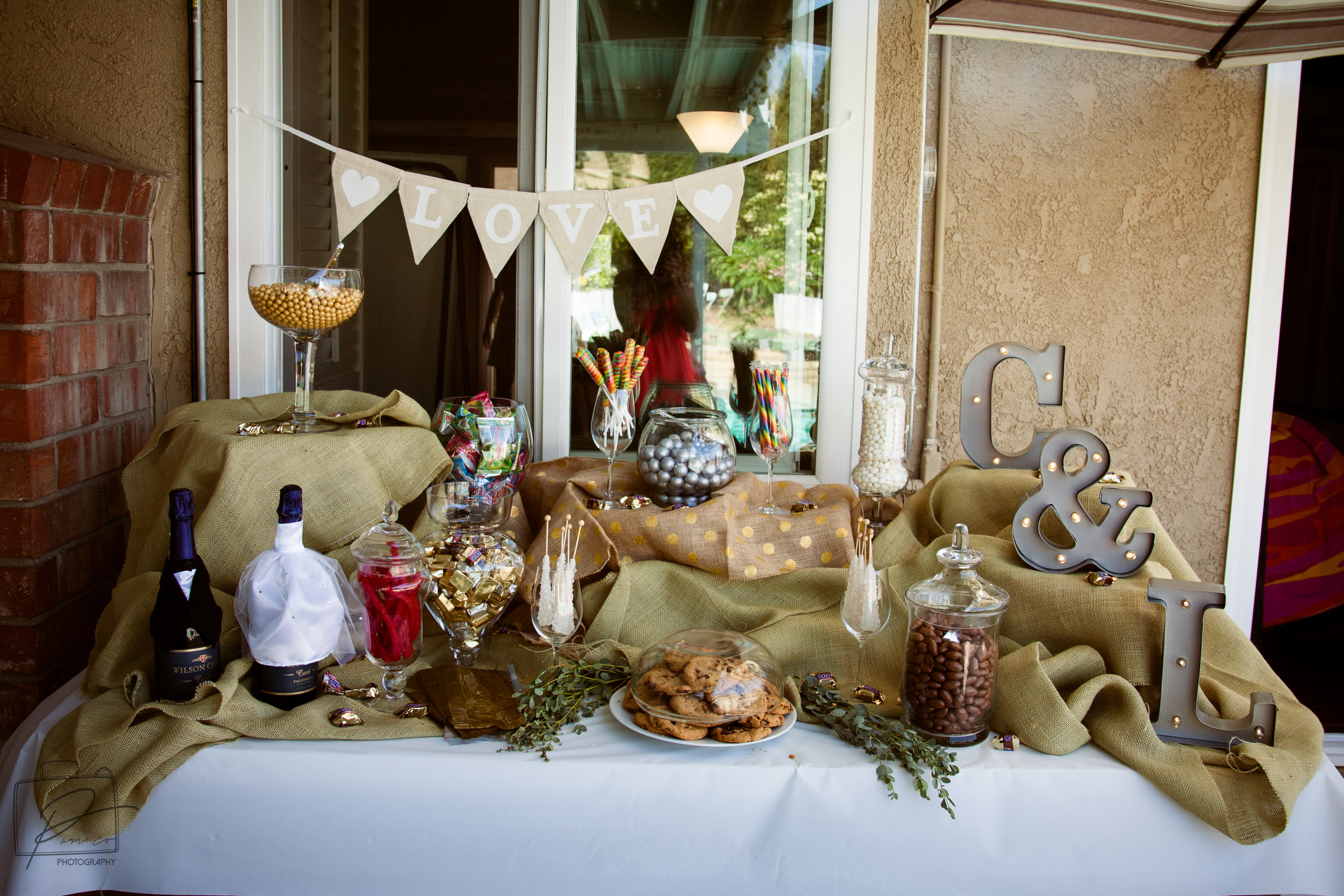 Beautiful sweet table set up by MOH Brittany