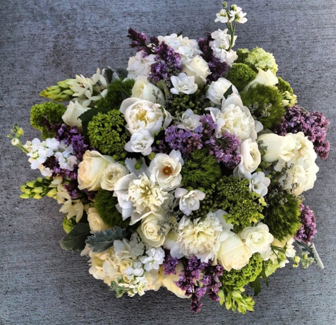 15. Designer Purple and White Centerpiece