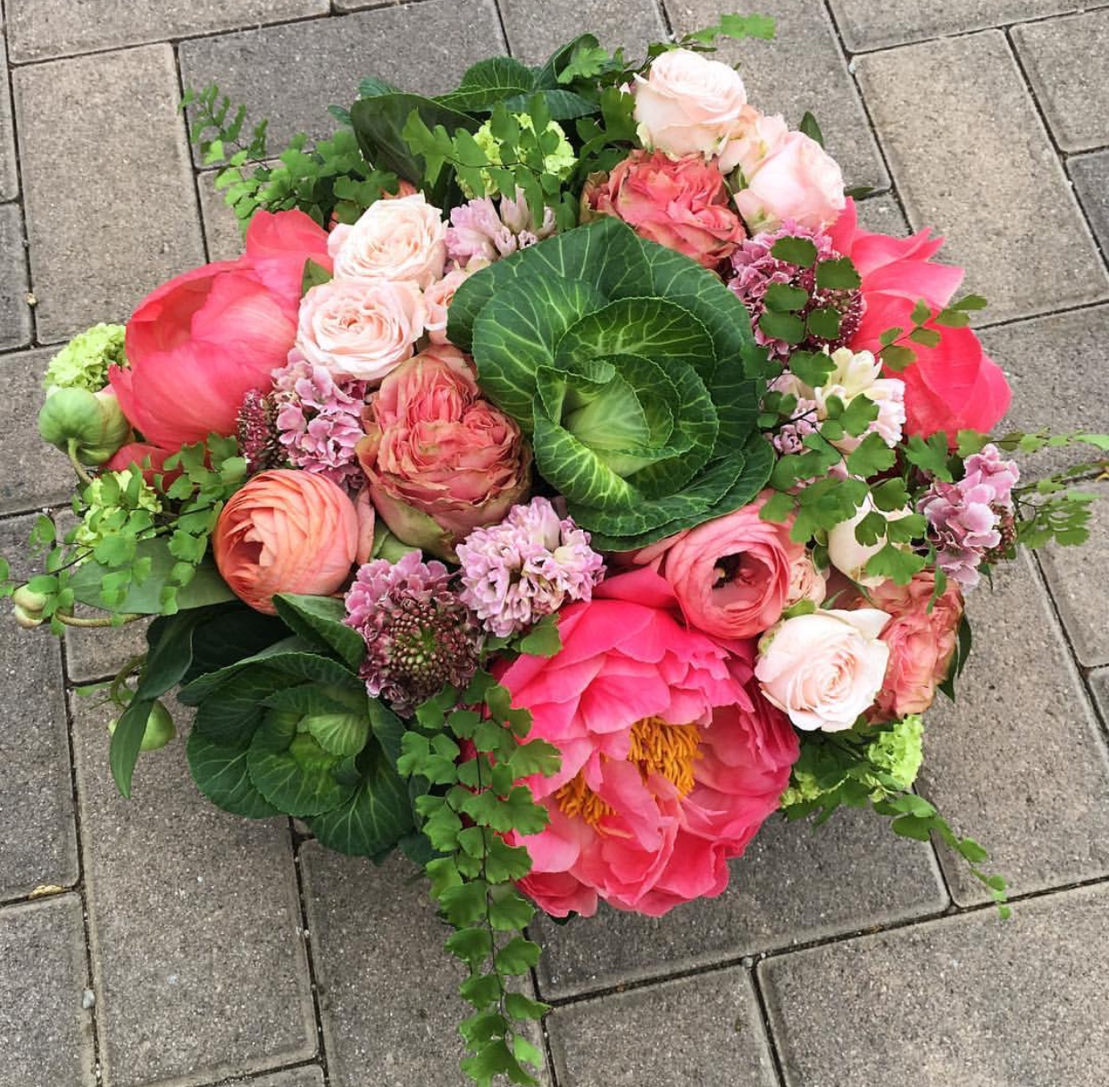 39. Peony and Cabbage Arrangement