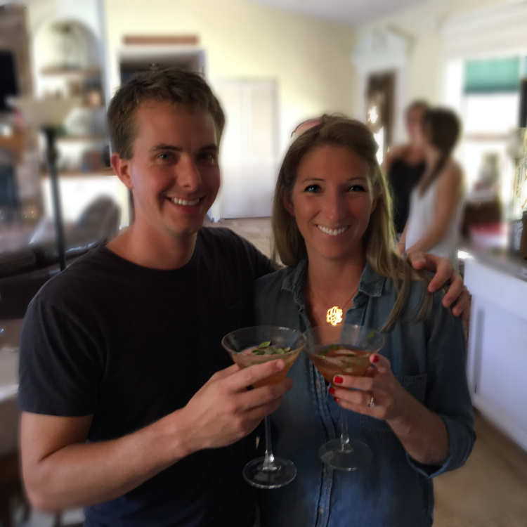 We had ours in a martini glass... but in hindsight, a Mason Jar would be more apropos