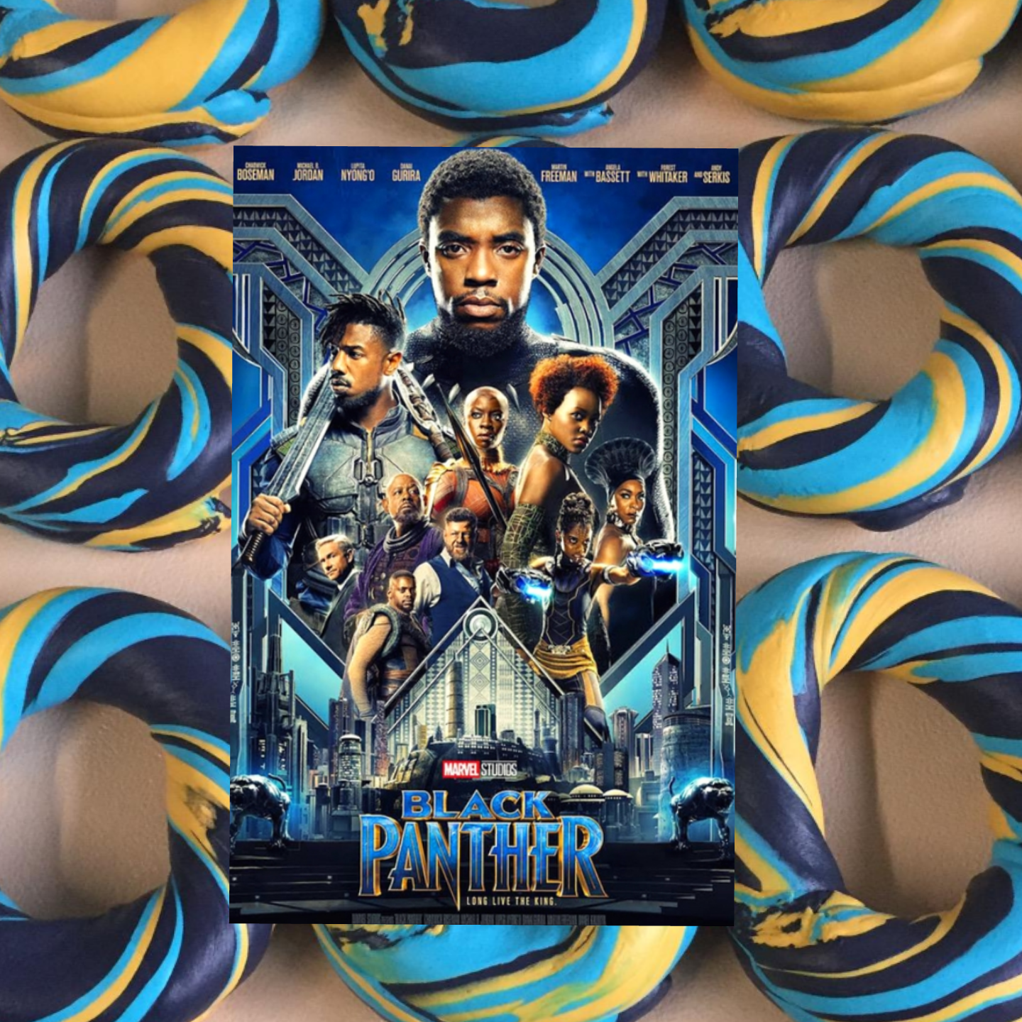 black panther movie custom bagel art