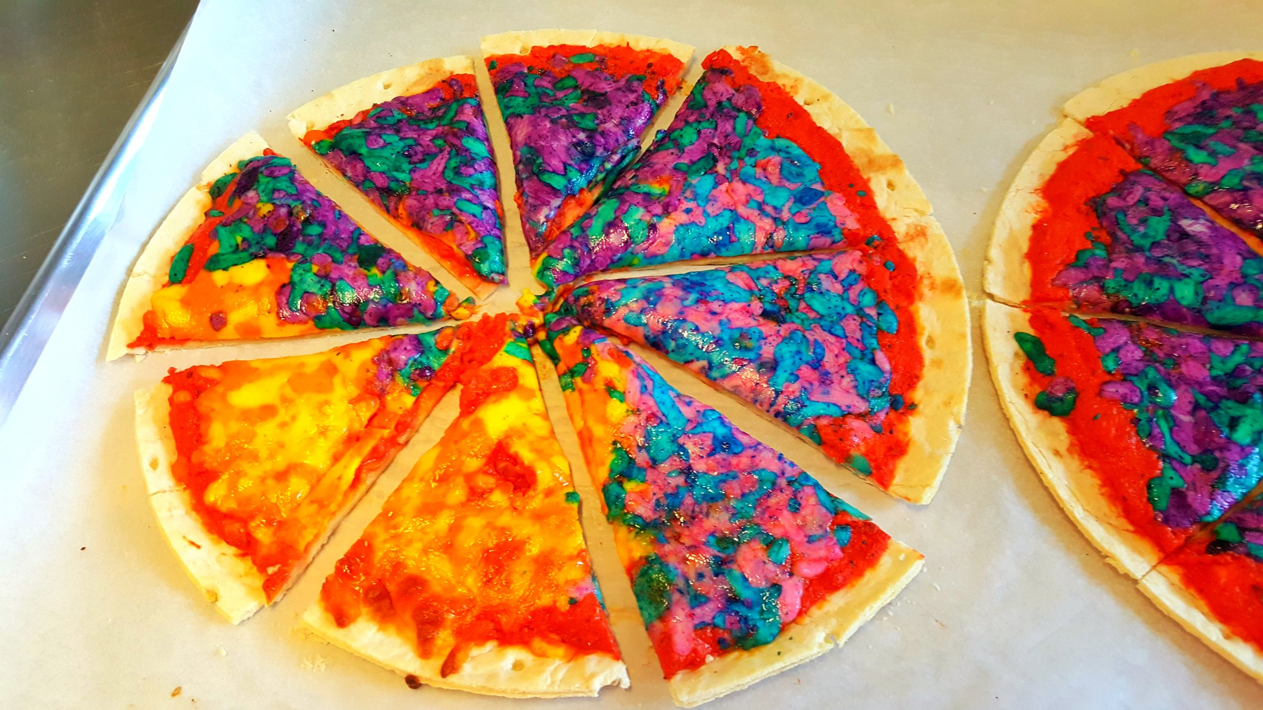 rainbow cheese pizza