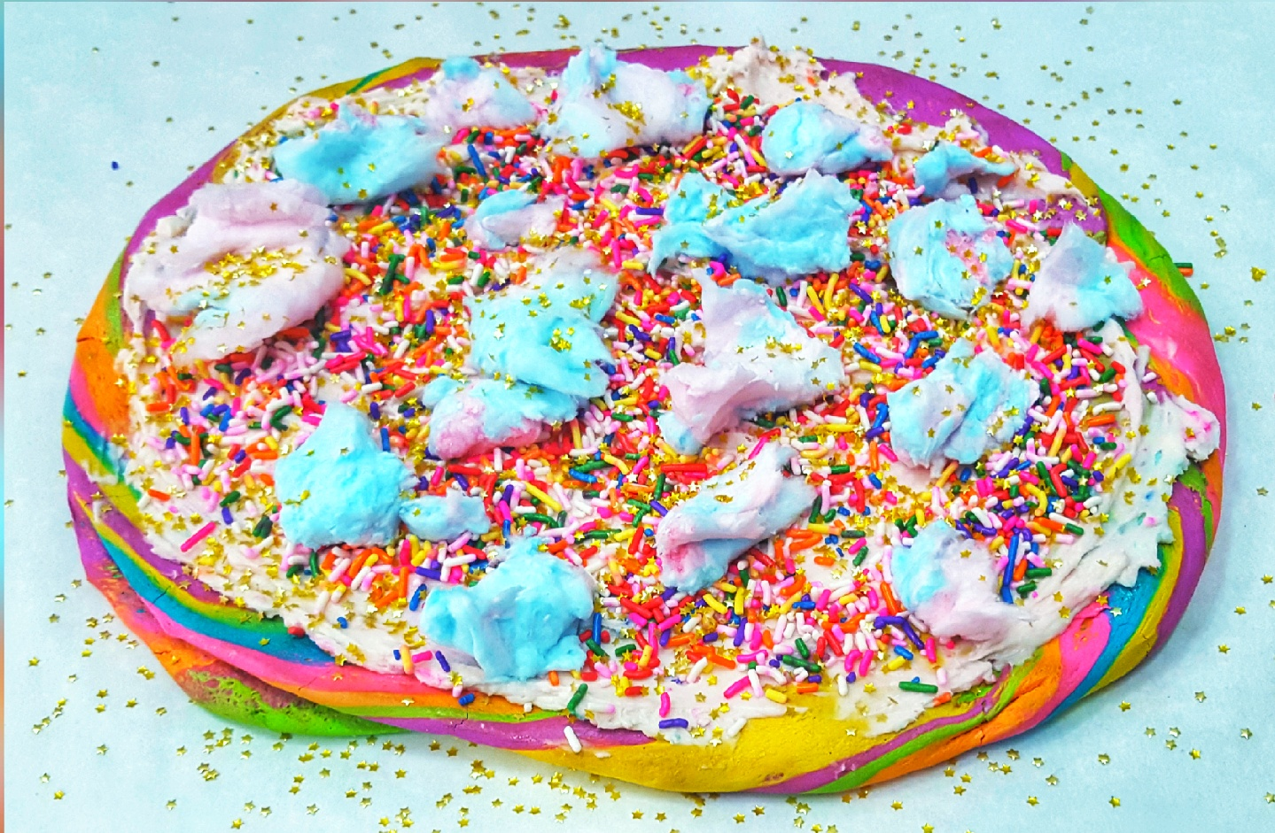 rainbow fetti pizza
