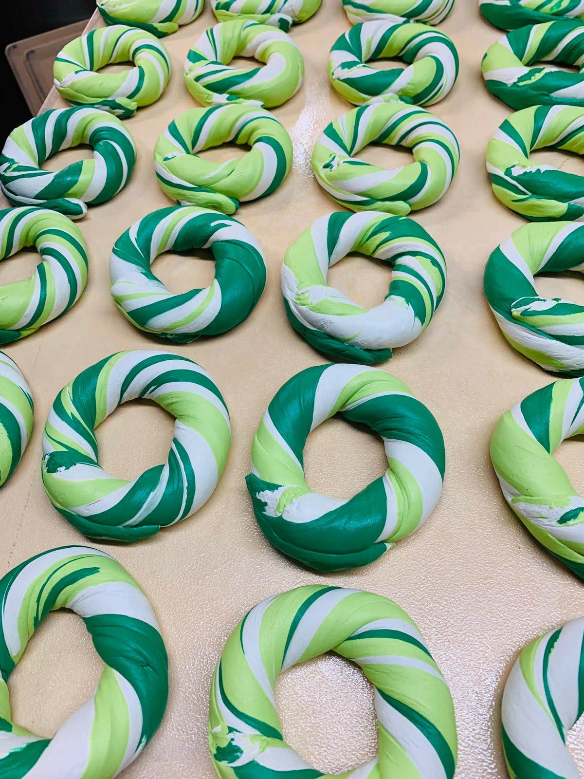 green and white bagel design