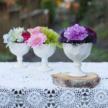 MILK GLASS PEDESTAL $2.50