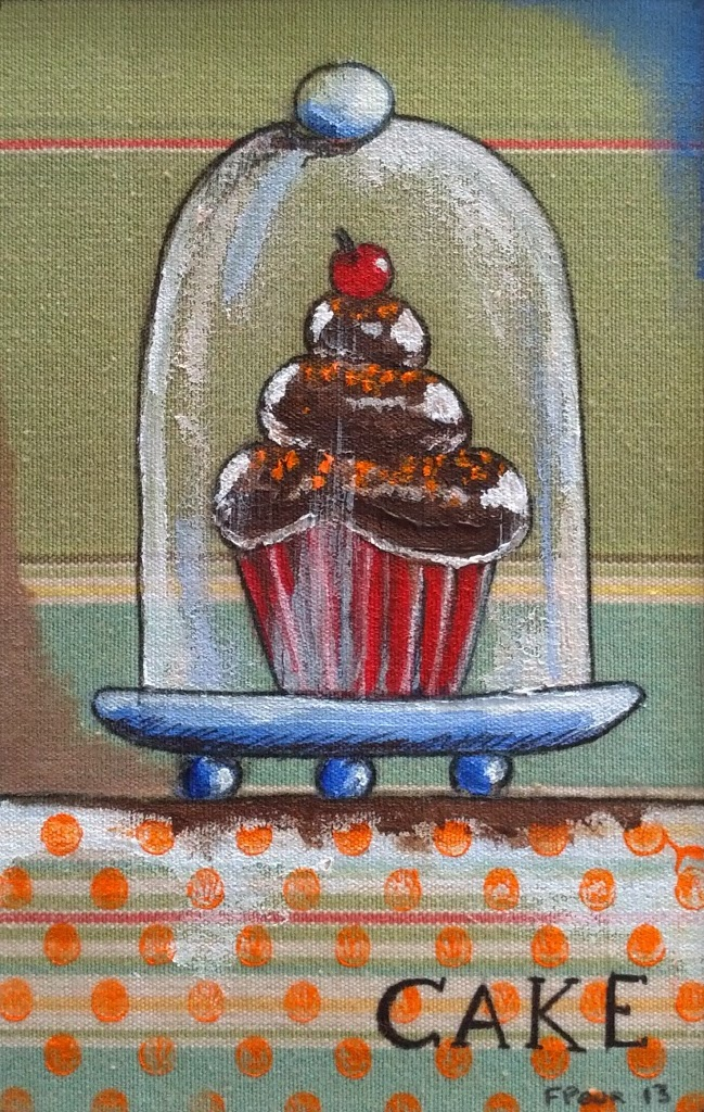 """Chocolate Cake"" Acrylic on Fabric"