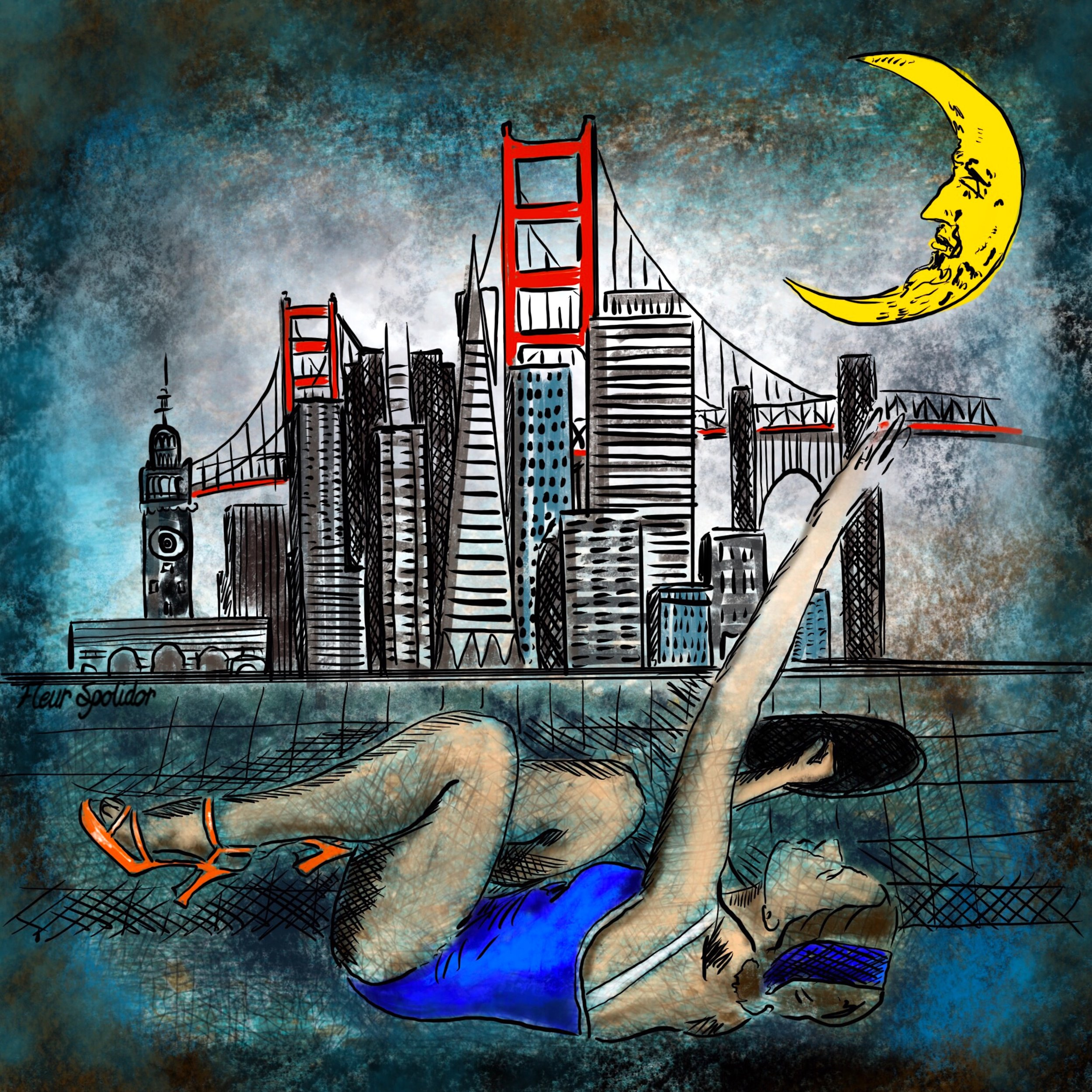 """Reaching for the moon over SF"" Digital painting"