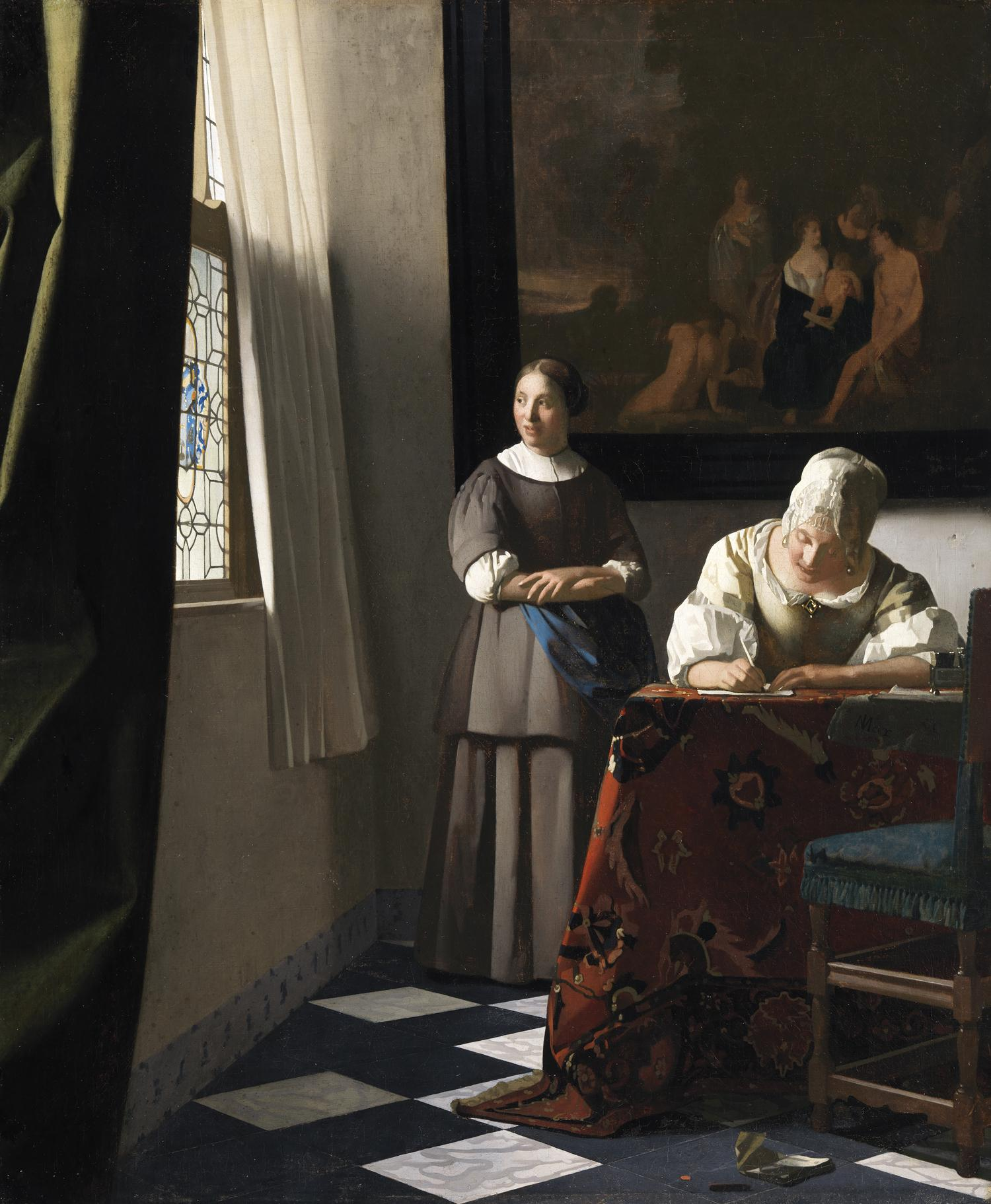 """Woman Writing a letter, with her maid"" by Vermeer"