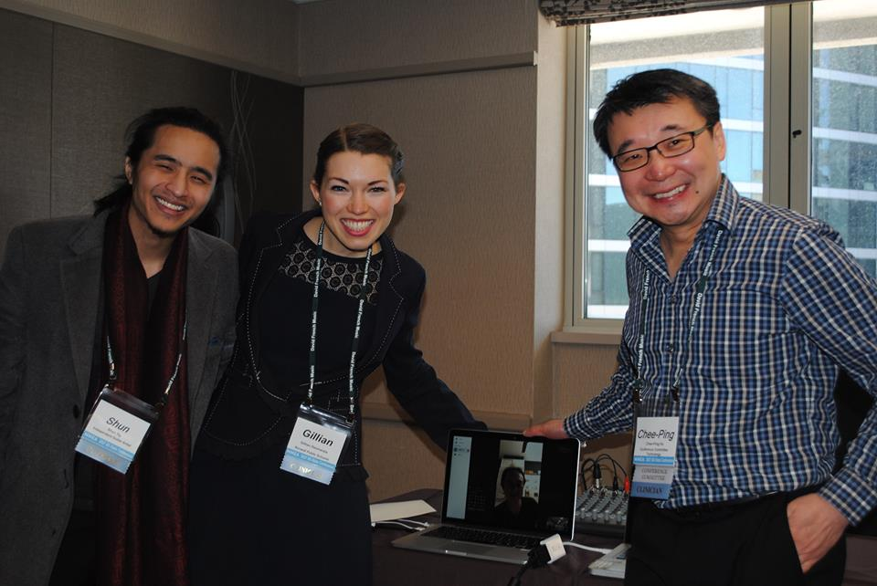 Cloud Music Ed Connecting Countries ( cloudmusiced.com ): Berklee's (right) Chee-Ping Ho and Gillian Desmarais collaborate with Singapore artist Shun Ng and Fabian Lim using online music collaborative tools.