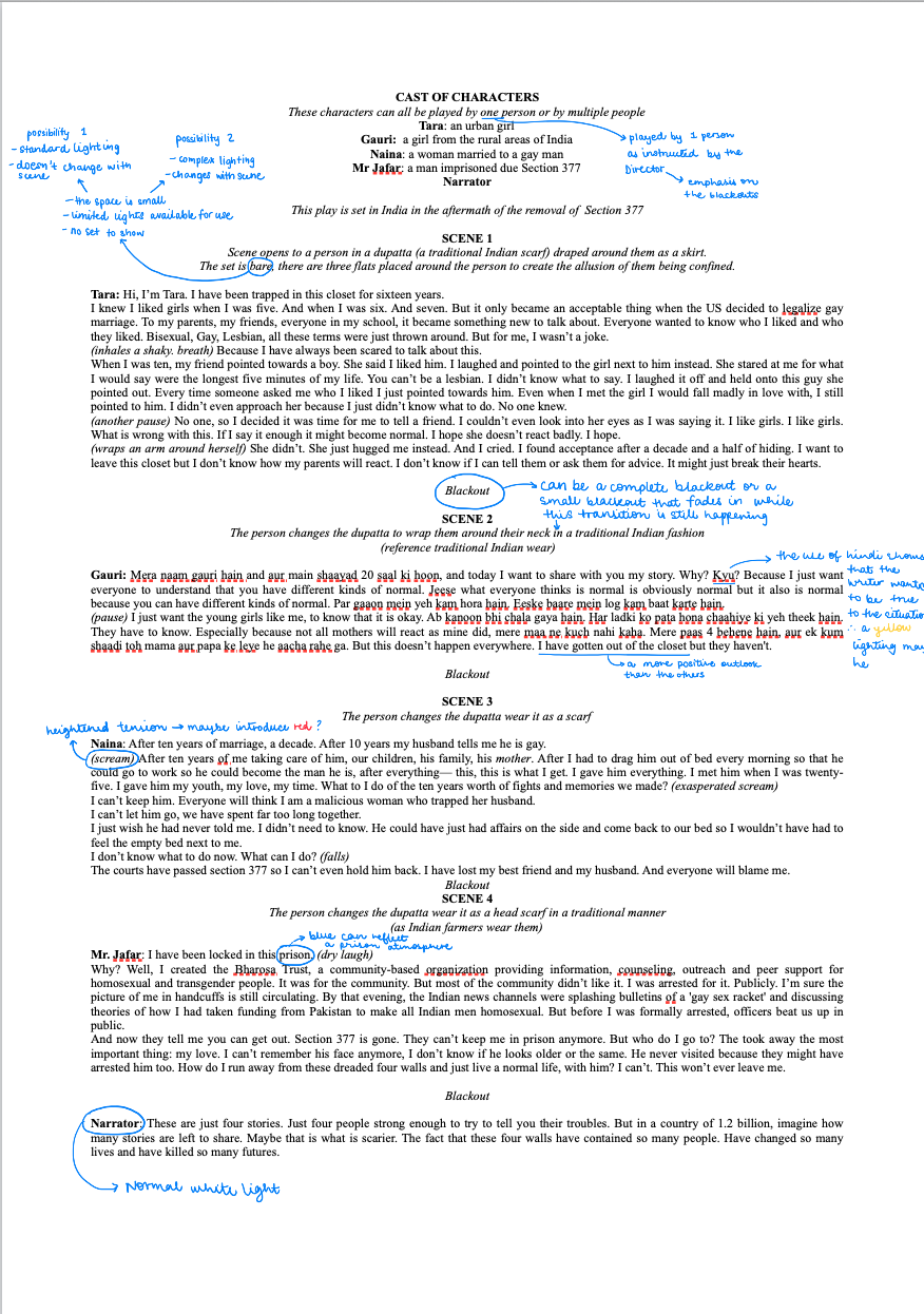 Annotated First Reading of the Script - Initial ideas and observations of the play along with the directorial intent. The draft above was after a preliminary pitch by the Director