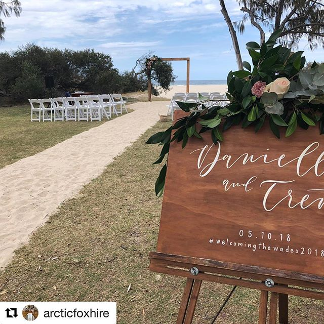 #Repost @arcticfoxhire with ・・・ Such a nice ceremony set up for our Dani + Trent. Just snuck in before the rain clouds came over. Enquire about our inclusive ceremony packages 💃🏼 Thanks to @celebrantladylove @lolaswildflowers @kb_lettering