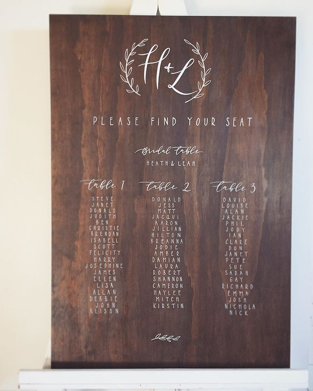 Seating chart on dark timber for Heath & Leah ❤️ ... . . . . . #lettering #calligraphy #weddingsigns #weddinginspo #brisbanebride #sunshinecoastweddings #goldcoastwedding #goldcoastbride #welcome #welcomesign #wedding #bride #reception #timbersign #weddingcalligraphy #reception #queenslandbrides #design #interiorinspo #engaged #shesaidyes #gettingmarried
