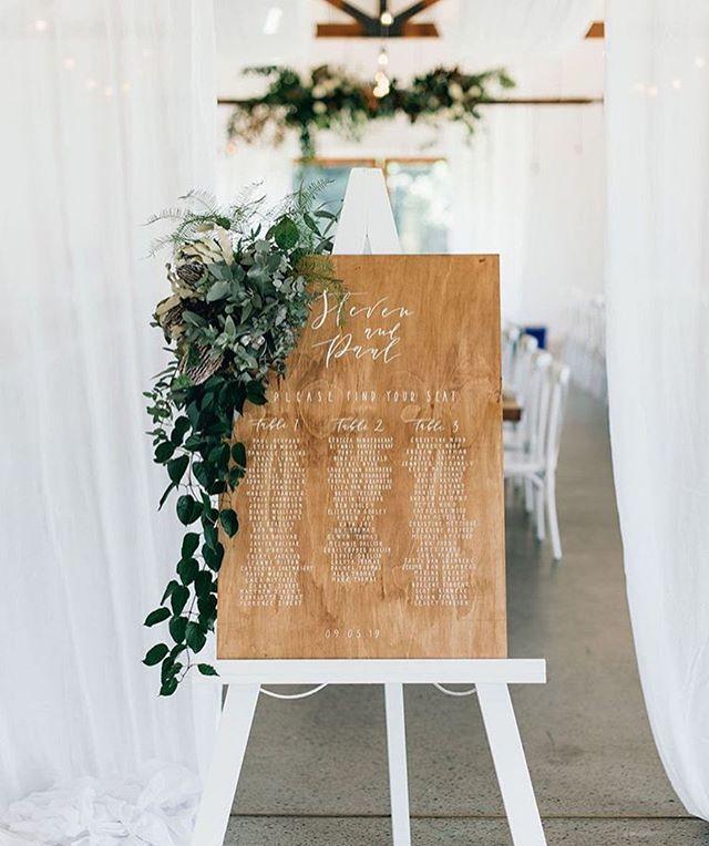 Timber seating chart for Steven & Paul at @summergroveestate ☀️ @ivyandbleuevents . . . . . #lettering #calligraphy #weddingsigns #weddinginspo #brisbanebride #sunshinecoastweddings #goldcoastwedding #goldcoastbride #welcome #welcomesign #wedding #bride #reception #timbersign #weddingcalligraphy #reception #queenslandbrides #design #interiorinspo #engaged #shesaidyes #gettingmarried