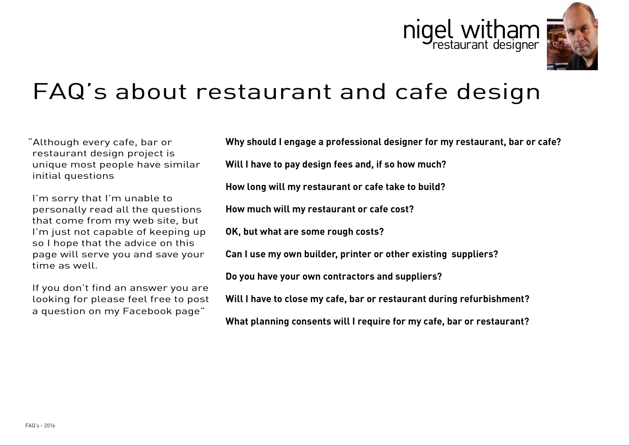 FAQ's about restaurant and cafe design
