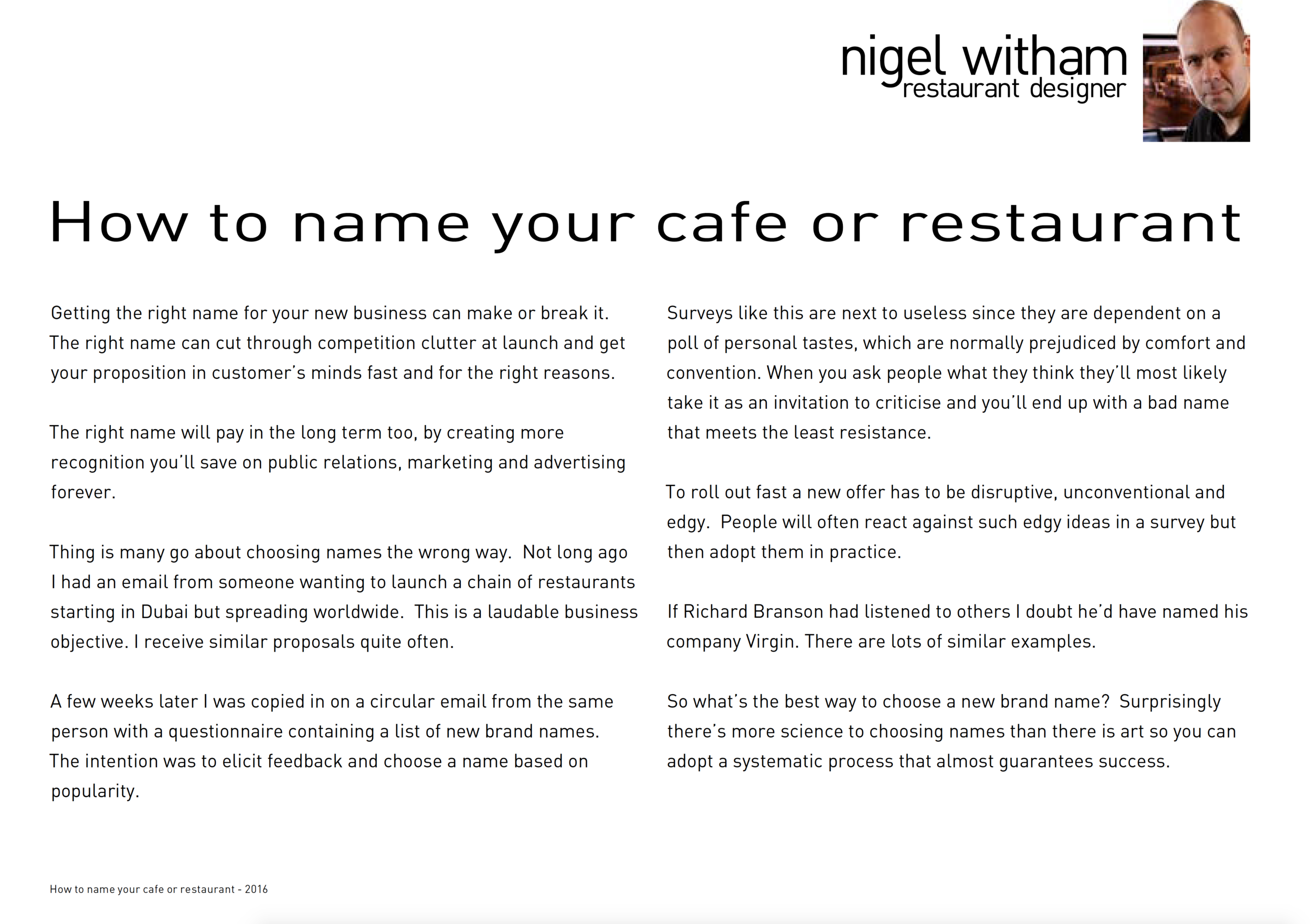 How To Name Your Cafe or Restaurant