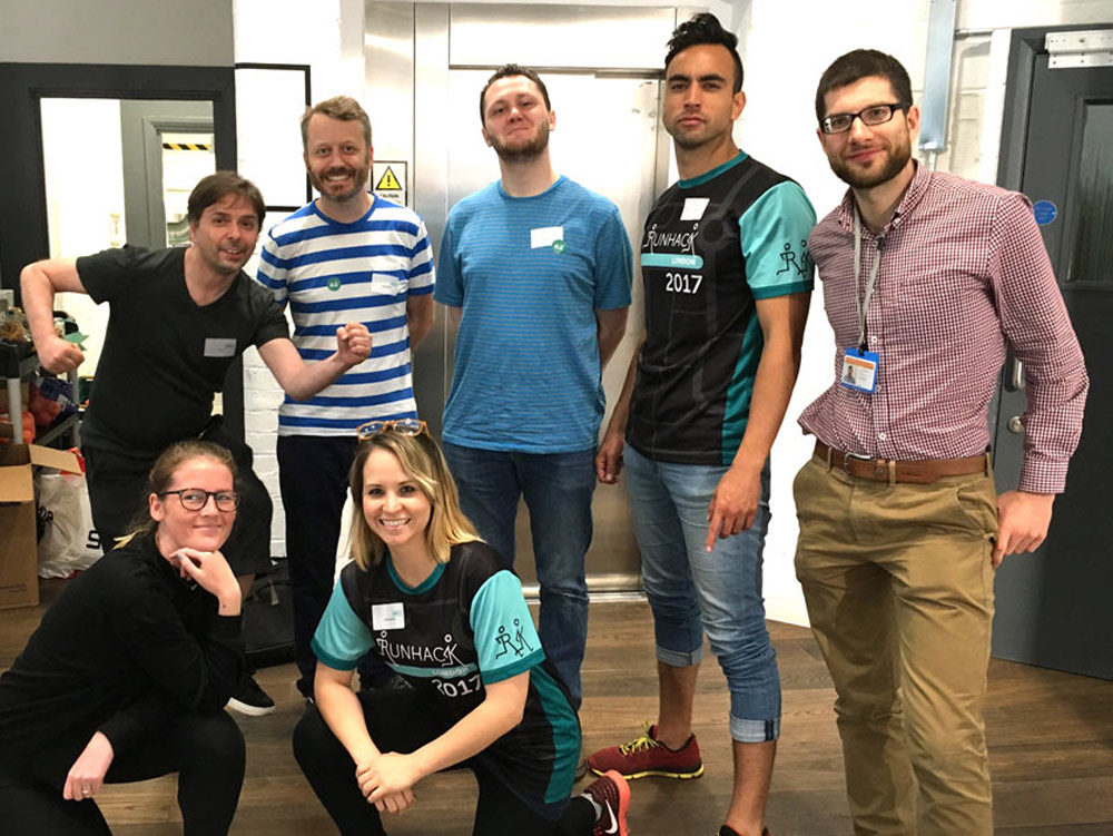 Some of the Furthermore and Go Jauntly team participating in Run Hack at the Urban Innovation Centre in London.
