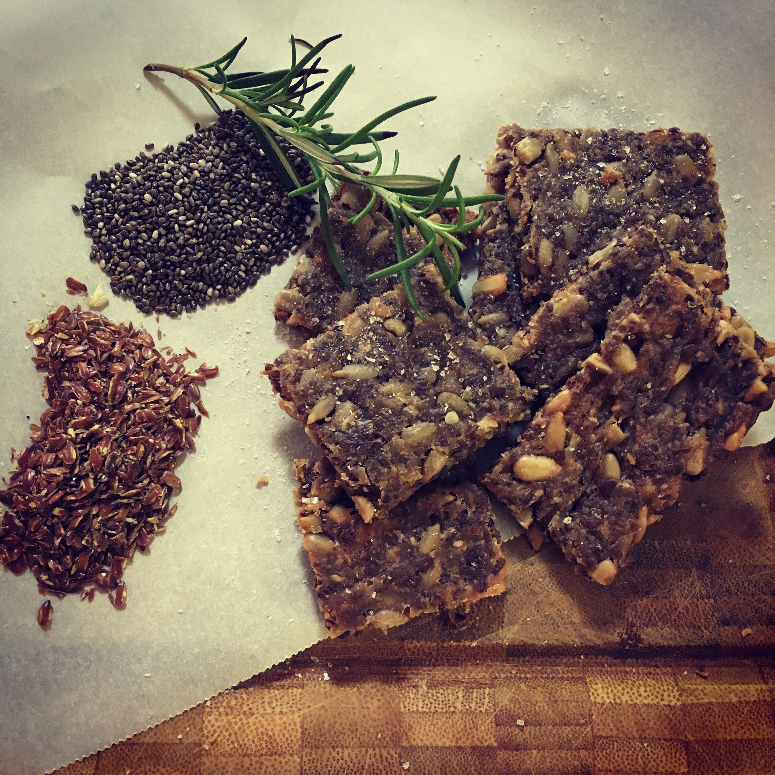 Seedy crackers with loads of goodness and nothing processed. Make your own instead of buying highly processed crackers. You will thank yourself.