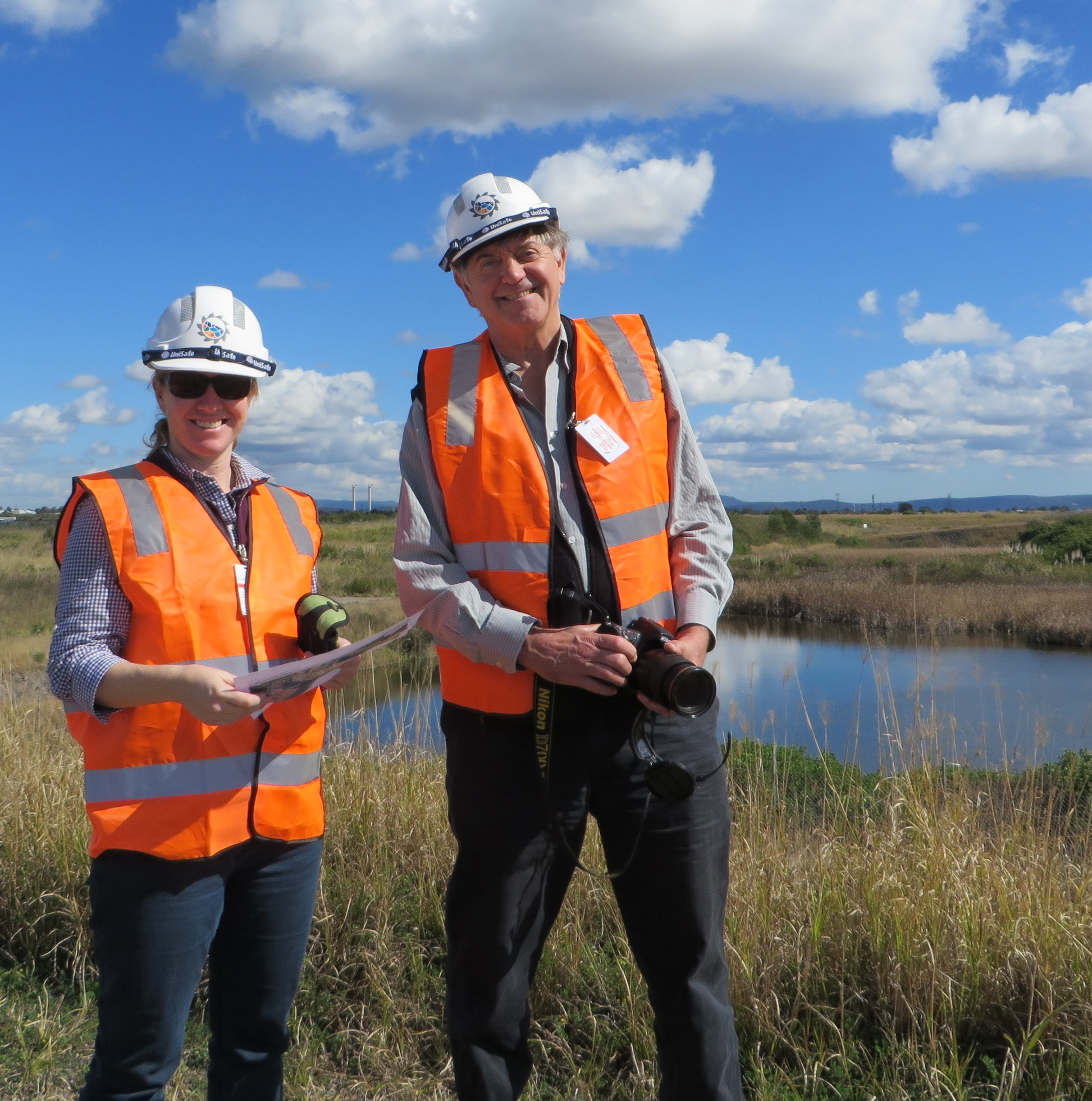 Inspecting frog ponds on Kooragang Island (Australia).