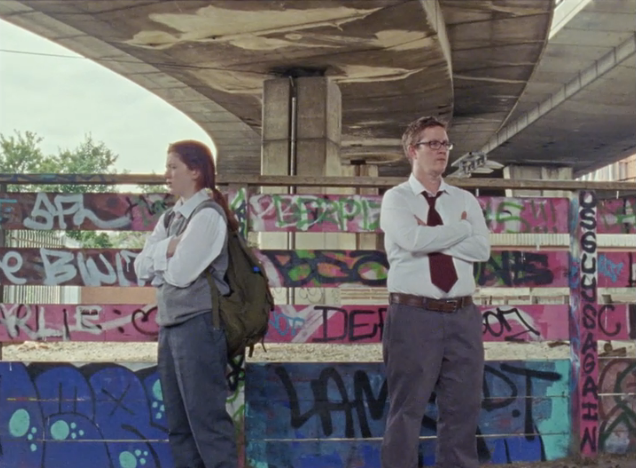 Jason Barker and Ciara Baxendale on location under the Westway in London