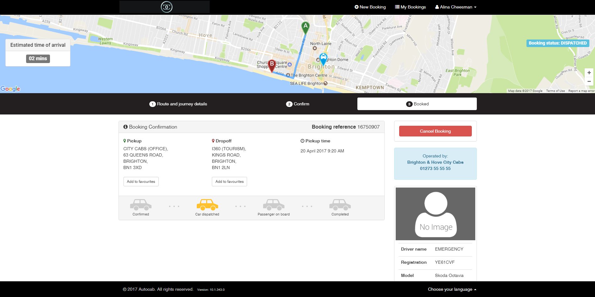 Car despatched & driver profile/ GPS live tracking on map